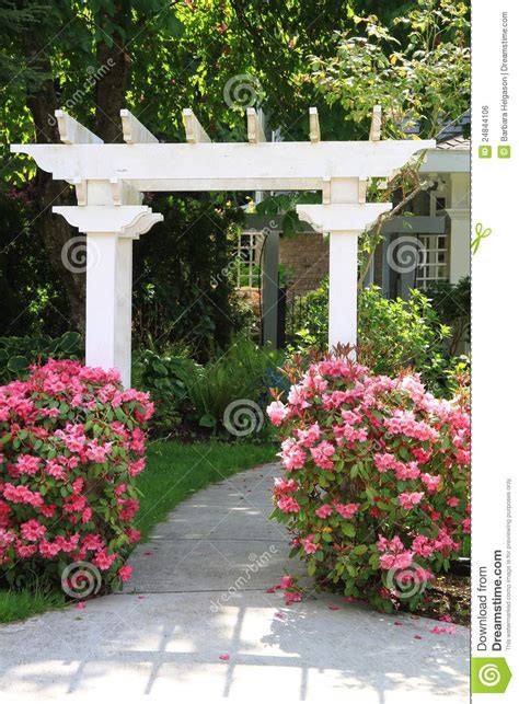 Fairy House Plans Garden Arbor And Pink Flowers Royalty Free Stock Image