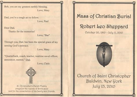 funeral mass program template catholic funeral mass program template