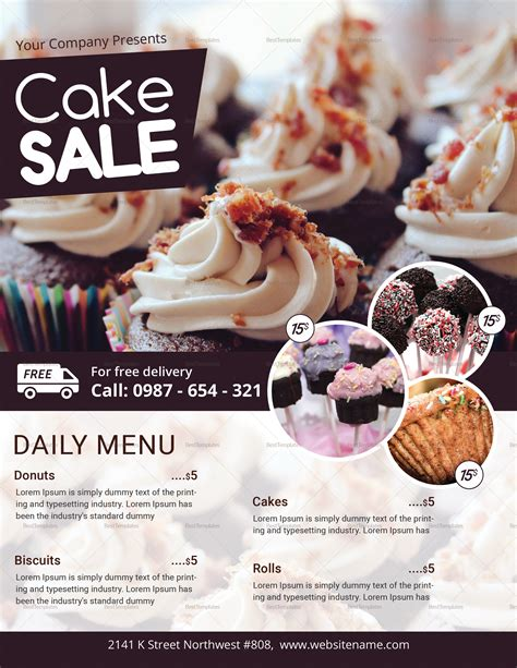 Cake Sale Flyer Design Template In Psd Word Publisher Cake Flyer Template