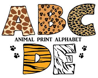 printable safari animal letters safari clip art etsy