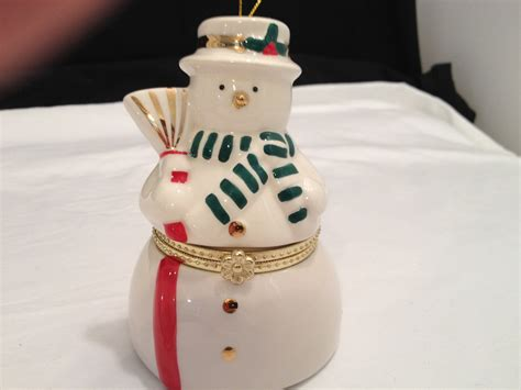 mr christmas porcelain music box ornament snowman