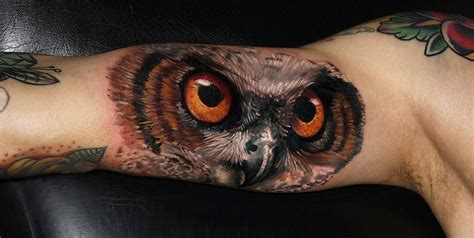 owl tattoo orange eyes owl with orange eyes tattoo