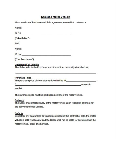 motor vehicle sales agreement template 32 sales agreement form in pdf