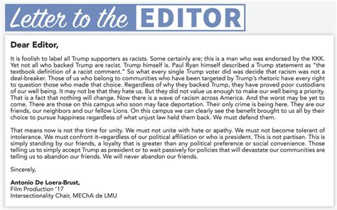 Response Letter To The Editor Sle Letter To The Editor Los Angeles Loyolan Letters To The Editor