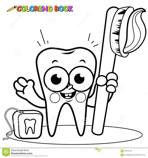 coloring page tooth cartoon holding toothbrush and dental