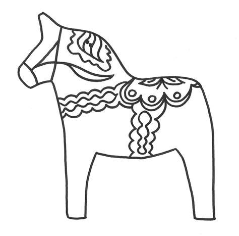 coloring pages for christmas in sweden swedish dala horse coloring picture sonlight grade 4 5