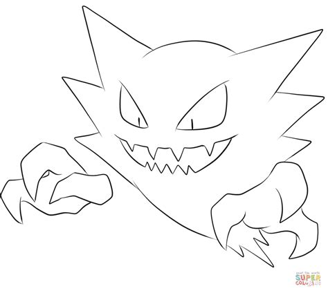 pokemon coloring pages haunter haunter coloring page free printable coloring pages