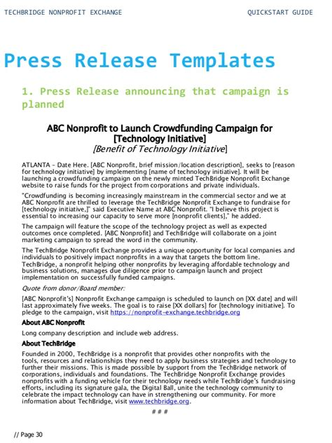 press release brief template start guide for your nonprofit technology