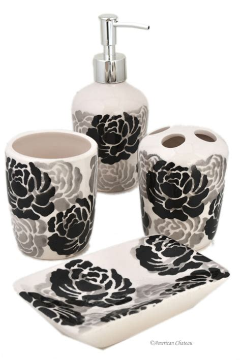 set 4 black grey white floral ceramic bathroom