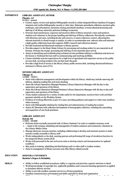 Library Assistant Resume by Library Assistant Resume Sles Velvet
