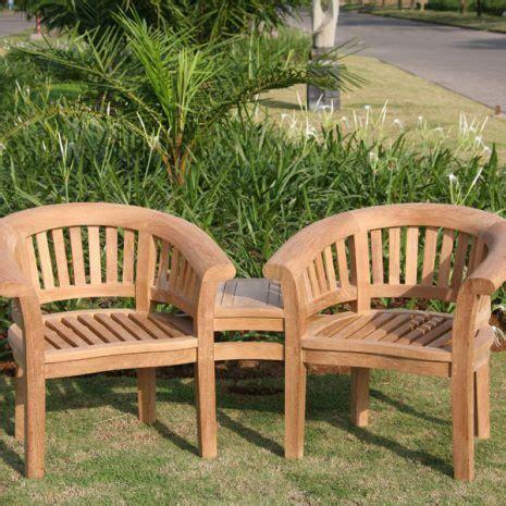 moon teak curved garden companion seat love seat