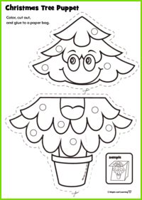 christmas tree puppet craft maple leaf learning library
