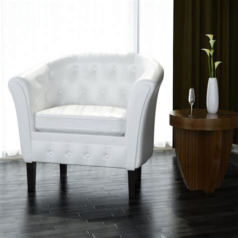 white leather armchairs artificial leather armchairs tub chair white vidaxl com