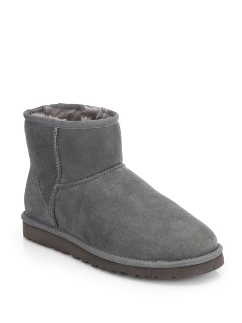 ugg classic mini suede boots in gray grey lyst