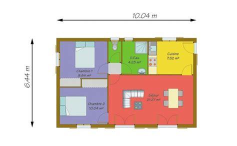 Plan Maison Plain Pied 50m2 Maison Ossature Bois Projet plan maison 50m2 madame ki