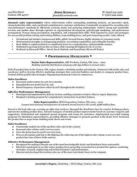 Sle Resume Exles by Sales Resume Sle Free Resumes Tips