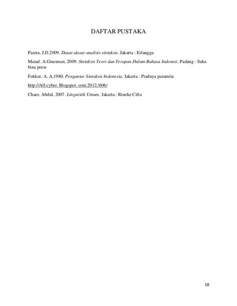 Pengantar Sintaksis Indonesia makalah sintaksis 1 rahmad juni