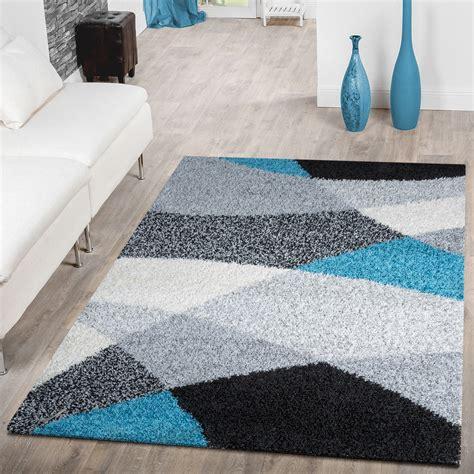 teppich grau gemustert moderner hochflor teppich shaggy vigo gemustert in schwarz