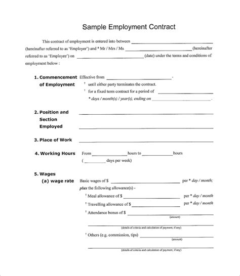 Simple Contract Template 9 Download Free Documents In Word Pdf Employment Contract Template Free