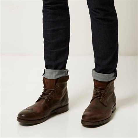 guys boots lyst river island brown leather brogue worker boots in