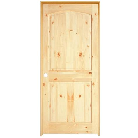Interior Knotty Pine Doors Shop Reliabilt 2 Panel Arch Top Solid No Skin Knotty Pine Left Interior Single
