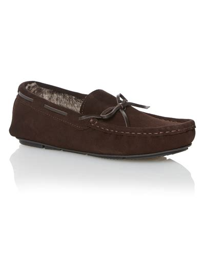 sainsburys slipper boots mens brown suede moccasin slippers tu clothing