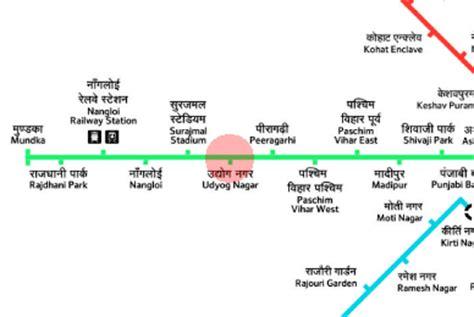 Udyog Nagar station map - Delhi Metro