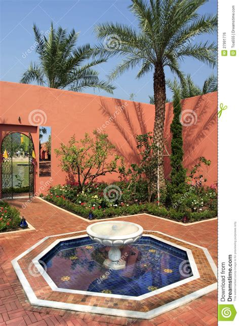 backyard style moroccan garden style stock photo image of building 27991776