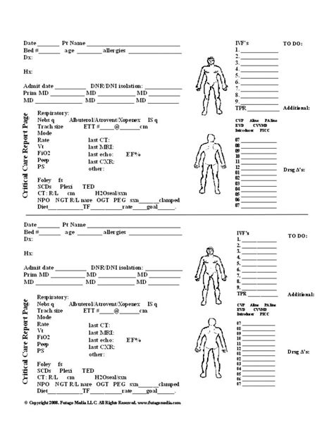 nursing report sheet templates icu report sheet templates images