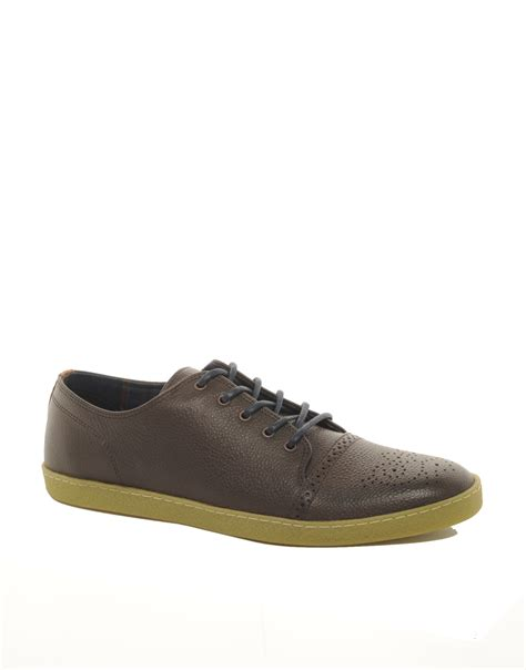 sole shoes fred perry deighton leather crepe sole shoes in brown for