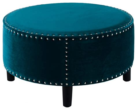 Linon Home Decor by Lynn Round Beige Ottoman Teal 32 Quot X32 Quot X16 Quot Contemporary