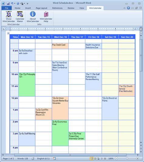 word 2007 weekly calendar