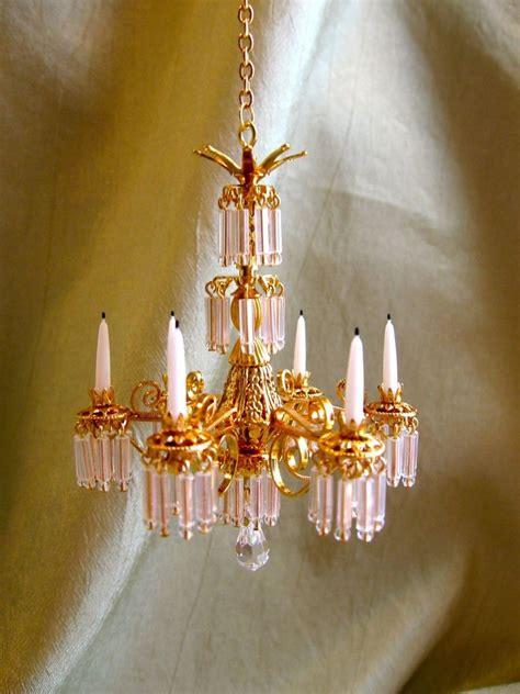 dolls house chandelier dollhouse doll house miniature crystal chandelier lamp 6 arm non electric ebay
