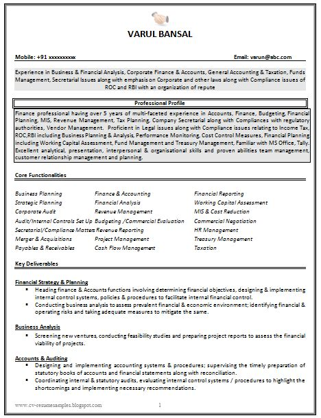 resume format for experienced accountant doc 10000 cv and resume sles with free cv resume sle for experienced