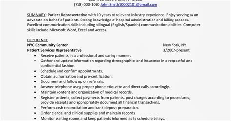 Patient Access Representative Resume by Access Resume Resume Ideas