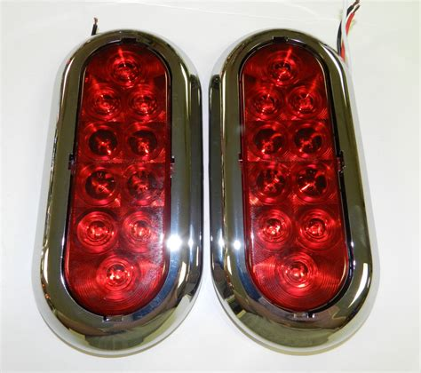 surface mount trailer tail lights 2 6 quot chrome trailer truck red led surface mount oval
