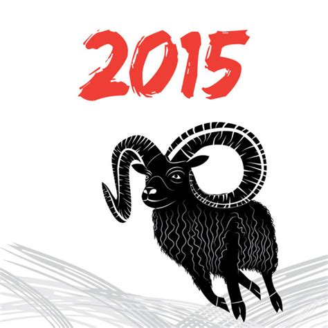 new year 2015 year of the sheep or goat 2015年黑色山羊图标矢量素材下载 找素材网