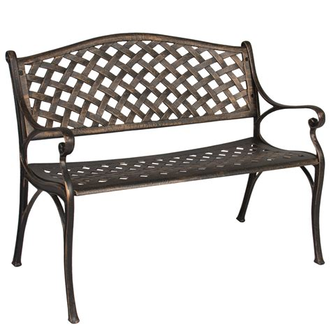 cast bench best choice products cozumel antique copper cast aluminum