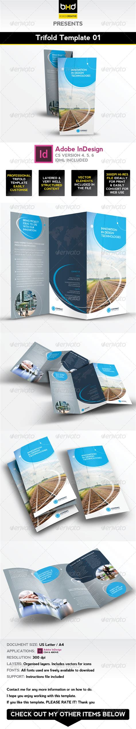 Trifold Brochure Template 01 Indesign Layout By Boxedcreative Graphicriver Indesign Trifold Template