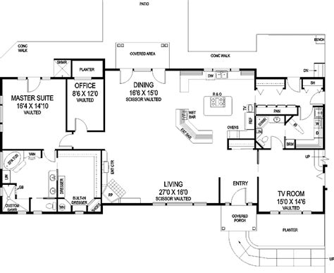 split bedroom floor plan 1 story house plans one level home plans associated