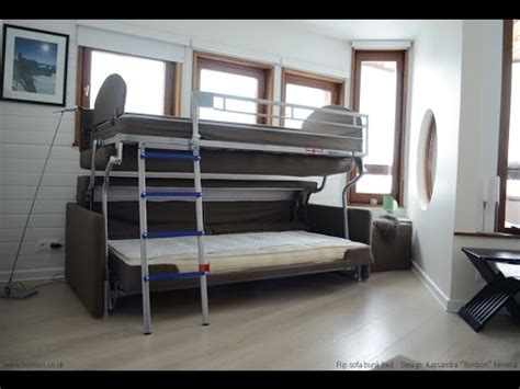 couch into bunk bed price bonbon flip sofa bunk bed youtube