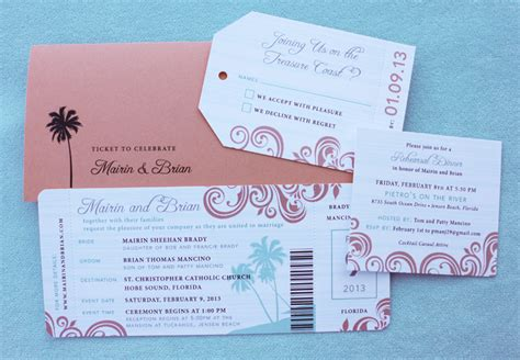 coral turquoise swirls palm trees boarding pass