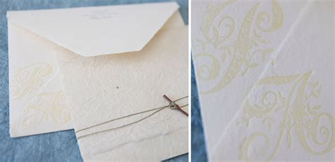 Handmade Paper Wedding Invitations - monogram envelope wedding invitation on handmade paper