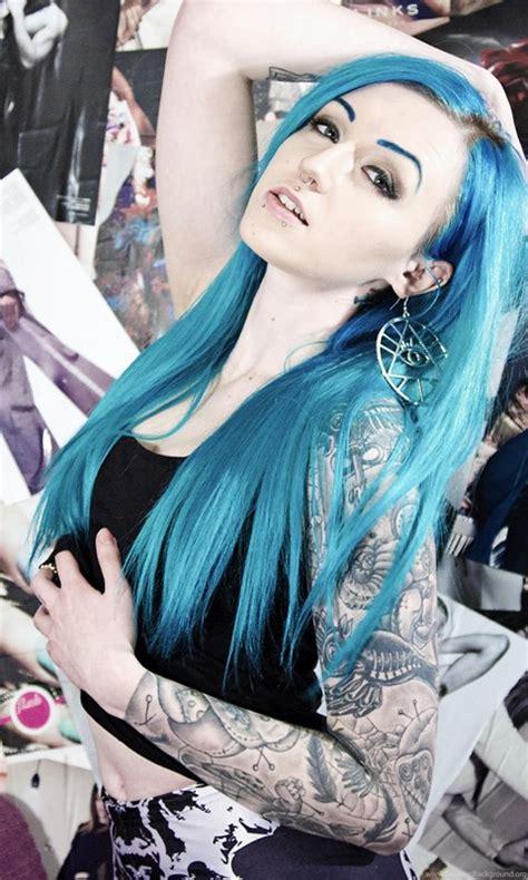 suicide girls tattoo blue hair hands  head wallpapers desktop background