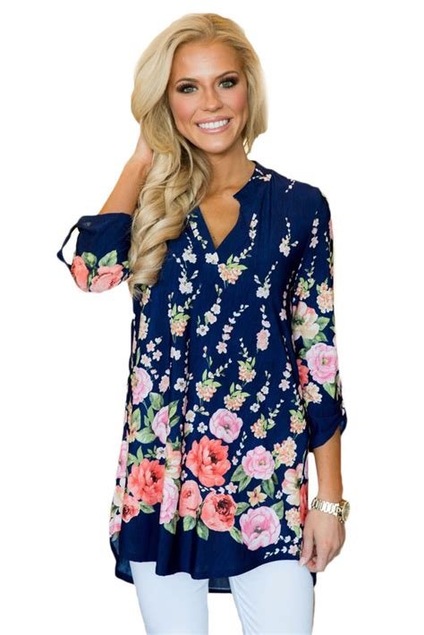 The B Club Print Blouse Blue us 7 02 navy blue vibrant floral print slight v neck