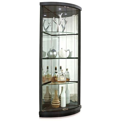 Mortimer Lighted Corner Display Curio   Hardwood, Glass