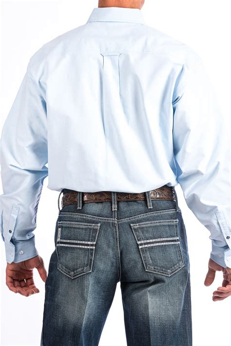 cinch jeans mens light blue solid oxford western button