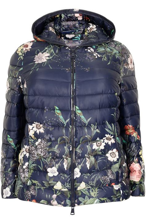 paprika navy floral print quilted puffer jacket with