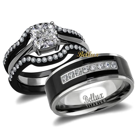 Wedding Rings Matching Sets by His And Hers Titanium Stainless Steel Cz Bridal Matching