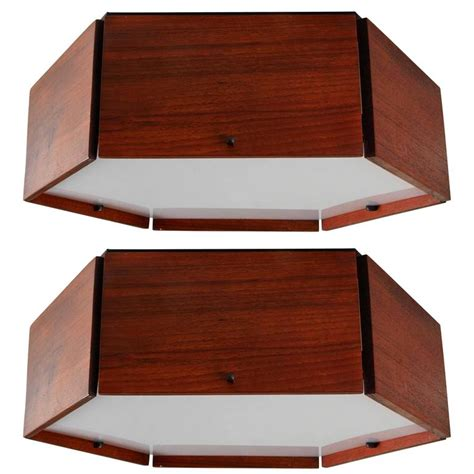 Hexagon Ceiling Light Two Teak And Acrylic Hexagonal Flushmount Ceiling Lights By Reggiani At 1stdibs